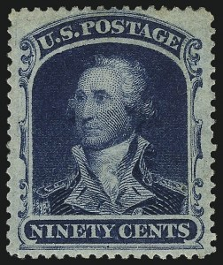 Sale Number 1019, Lot Number 386, 10c-90c 1857-60 Issue and 1875 Reprint (Scott 32-47)90c Blue (39), 90c Blue (39)