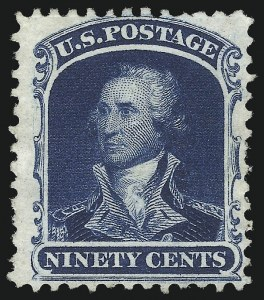Sale Number 1019, Lot Number 387, 10c-90c 1857-60 Issue and 1875 Reprint (Scott 32-47)90c Deep Blue, Reprint (47), 90c Deep Blue, Reprint (47)