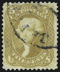Sale Number 1019, Lot Number 394, 1861-66 Issue (Scott 63TC-78)5c Olive Yellow (67b), 5c Olive Yellow (67b)