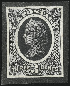 Sale Number 1019, Lot Number 412, 1867-68 Grilled Issue (Scott 83-101)3c Spencer Patent, Die Essay on Stiff Yellowish Wove (79-E30d), 3c Spencer Patent, Die Essay on Stiff Yellowish Wove (79-E30d)