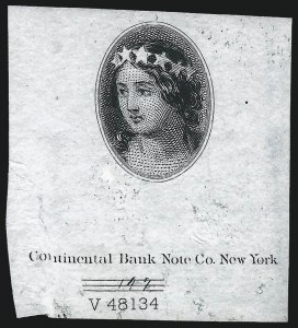 Sale Number 1019, Lot Number 495, 1870-88 Bank Note Issues, Continental Essays and Proofs(Unstated Value) Columbia, Vignette Essay on India (147-E1A), (Unstated Value) Columbia, Vignette Essay on India (147-E1A)