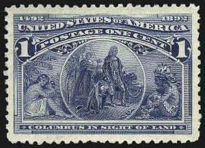 Sale Number 1019, Lot Number 537, 1c-50c 1893 Columbian Issue (Scott 230-240)1c Columbian (230), 1c Columbian (230)