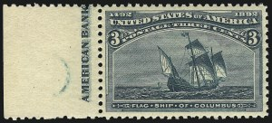Sale Number 1019, Lot Number 542, 1c-50c 1893 Columbian Issue (Scott 230-240)3c Columbian (232), 3c Columbian (232)
