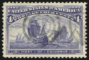 Sale Number 1019, Lot Number 544, 1c-50c 1893 Columbian Issue (Scott 230-240)4c Columbian (233), 4c Columbian (233)