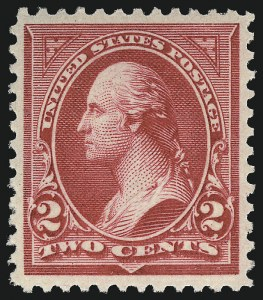 Sale Number 1019, Lot Number 595, 1895-97 Watermarked Bureau Issues (Scott 266-283)2c Carmine, Ty. II (266), 2c Carmine, Ty. II (266)