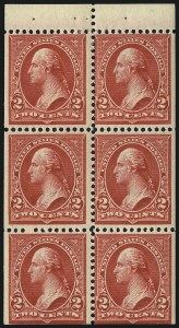 Sale Number 1019, Lot Number 611, 1895-97 Watermarked Bureau Issues (Scott 266-283)2c Red, Ty. IV, Booklet Pane of Six, Horizontal Wmk. (279Bj), 2c Red, Ty. IV, Booklet Pane of Six, Horizontal Wmk. (279Bj)