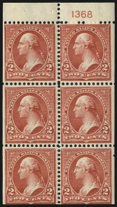 Sale Number 1019, Lot Number 612, 1895-97 Watermarked Bureau Issues (Scott 266-283)2c Red, Ty. IV, Booklet Pane of Six, Vertical Wmk. (279Bk), 2c Red, Ty. IV, Booklet Pane of Six, Vertical Wmk. (279Bk)