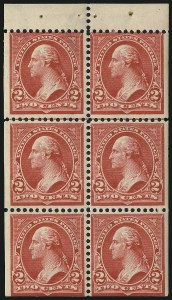Sale Number 1019, Lot Number 613, 1895-97 Watermarked Bureau Issues (Scott 266-283)2c Red, Ty. IV, Booklet Pane of Six, Vertical Wmk. (279Bk), 2c Red, Ty. IV, Booklet Pane of Six, Vertical Wmk. (279Bk)