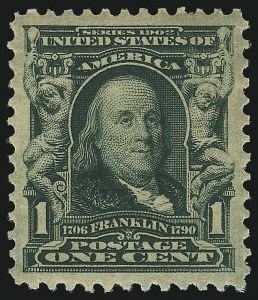Sale Number 1019, Lot Number 670, 1902-08 Issues (Scott 300-310)1c Blue Green (300), 1c Blue Green (300)