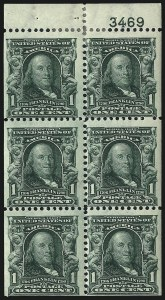Sale Number 1019, Lot Number 671, 1902-08 Issues (Scott 300-310)1c Blue Green, Booklet Pane of Six (300b), 1c Blue Green, Booklet Pane of Six (300b)