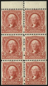 Sale Number 1019, Lot Number 673, 1902-08 Issues (Scott 300-310)2c Carmine, Booklet Pane of Six (301c), 2c Carmine, Booklet Pane of Six (301c)