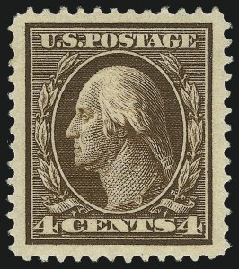 Sale Number 1019, Lot Number 754, 1909-12 Washington-Franklin Issues (Scott 375b-396)4c Brown (377), 4c Brown (377)