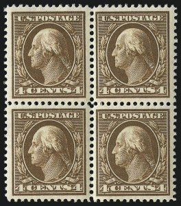 Sale Number 1019, Lot Number 755, 1909-12 Washington-Franklin Issues (Scott 375b-396)4c Brown (377), 4c Brown (377)
