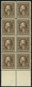 Sale Number 1019, Lot Number 756, 1909-12 Washington-Franklin Issues (Scott 375b-396)4c Brown (377), 4c Brown (377)