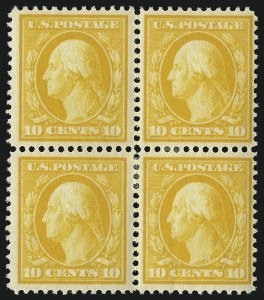 Sale Number 1019, Lot Number 760, 1909-12 Washington-Franklin Issues (Scott 375b-396)10c Yellow (381), 10c Yellow (381)
