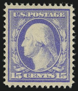 Sale Number 1019, Lot Number 762, 1909-12 Washington-Franklin Issues (Scott 375b-396)15c Pale Ultramarine (382), 15c Pale Ultramarine (382)