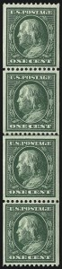 Sale Number 1019, Lot Number 764, 1909-12 Washington-Franklin Issues (Scott 375b-396)1c Green, Coil (385), 1c Green, Coil (385)