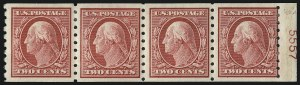 Sale Number 1019, Lot Number 767, 1909-12 Washington-Franklin Issues (Scott 375b-396)1c-2c 1910 Issue, Perf 8.5 Coils (390-393), 1c-2c 1910 Issue, Perf 8.5 Coils (390-393)