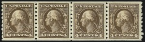 Sale Number 1019, Lot Number 769, 1909-12 Washington-Franklin Issues (Scott 375b-396)4c Brown, 1c Green, 2c Carmine, Coils (395, 410-412), 4c Brown, 1c Green, 2c Carmine, Coils (395, 410-412)