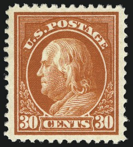 Sale Number 1019, Lot Number 800, 1912-15 Washington-Franklin Issues (Scott 406c-460)30c Orange Red (420), 30c Orange Red (420)