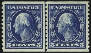 Sale Number 1019, Lot Number 823, 1912-15 Washington-Franklin Issues (Scott 406c-460)5c Blue, Coil (447), 5c Blue, Coil (447)