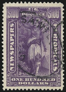 Sale Number 1019, Lot Number 982, Newspapers & Periodicals, Parcel Post$100.00 Purple, 1895 Watermarked Issue (PR125), $100.00 Purple, 1895 Watermarked Issue (PR125)
