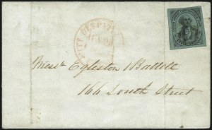 Sale Number 1019, Lot Number 992, Carriers and LocalsU.S. City Despatch Post, New York N.Y., 3c Black on Green Glazed (6LB5d), U.S. City Despatch Post, New York N.Y., 3c Black on Green Glazed (6LB5d)