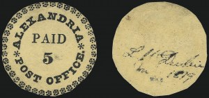 Sale Number 1020, Lot Number 1, Alexandria, District of Columbia (Scott 1X1a)Alexandria, District of Columbia (or Virginia), 5c Black on Buff, Type II with 39 Ornaments (1X1a), Alexandria, District of Columbia (or Virginia), 5c Black on Buff, Type II with 39 Ornaments (1X1a)