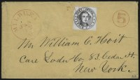 Sale Number 1020, Lot Number 15, Millbury, Massachusetts, 5c Black on Bluish (7X1)