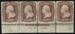 Sale Number 1021, Lot Number 206, 1861 Issue First Colors and First Designs (Scott 55-62B)3c Brown Rose, First Design (56), 3c Brown Rose, First Design (56)