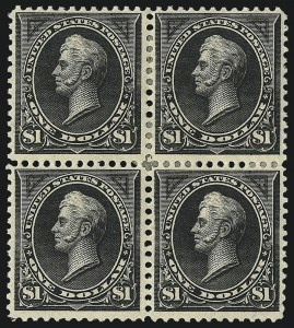 Sale Number 1021, Lot Number 469, 1895-97 Watermarked Bureau Issues (Scott 266-279B)$1.00 Black, Ty. I (276), $1.00 Black, Ty. I (276)