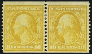 Sale Number 1021, Lot Number 492, 1908-09 Washington-Franklin Issue (Scott 331-356)10c Yellow, Coil (356), 10c Yellow, Coil (356)