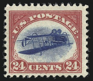 Sale Number 1021, Lot Number 514, The Inverted Jenny, Position 74 (Scott C3a)24c Carmine Rose & Blue, Center Inverted (C3a), 24c Carmine Rose & Blue, Center Inverted (C3a)