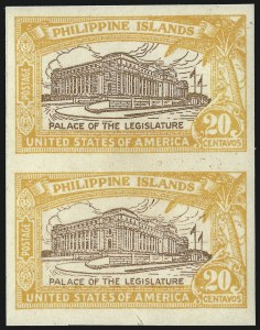 Sale Number 1021, Lot Number 548, United States PossessionsPHILIPPINES, 1926, 20c Orange & Brown, Imperforate Pair (323c), PHILIPPINES, 1926, 20c Orange & Brown, Imperforate Pair (323c)