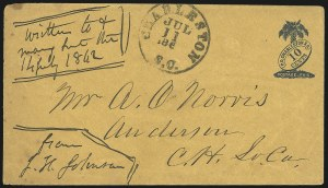 Sale Number 1022, Lot Number 1021, Charleston S.C., 10c Blue on Dark Orange entire (16XU6)