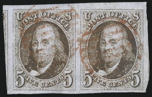 Sale Number 1023, Lot Number 2043, Used Multiples5c Red Brown (1), 5c Red Brown (1)