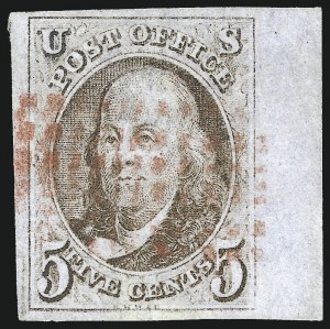 Sale Number 1023, Lot Number 2083, Double Transfers and other Plate Varieties including Misaligned Entries5c Red Brown, Double Transfer Ty. B (1-B), 5c Red Brown, Double Transfer Ty. B (1-B)