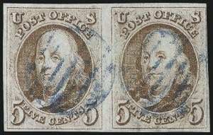 Sale Number 1023, Lot Number 2084, Double Transfers and other Plate Varieties including Misaligned Entries5c Red Brown, Double Transfer Ty. B (1-B), 5c Red Brown, Double Transfer Ty. B (1-B)