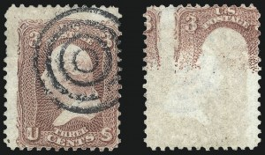 Sale Number 1024, Lot Number 106, 3c-5c 1861-66 Issue (Scott 64-67)3c Rose, Printed on Both Sides (65e), 3c Rose, Printed on Both Sides (65e)
