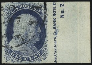 Sale Number 1024, Lot Number 21, 1c 1851-56 Issue (Scott 5-9)1c Blue, Ty. II (7), 1c Blue, Ty. II (7)
