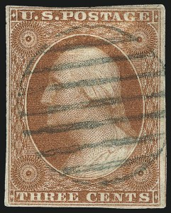 Sale Number 1024, Lot Number 35, 3c 1851-56 Issue (Scott 10-11A)3c Orange Brown, Ty. II, Part India Paper (10A var), 3c Orange Brown, Ty. II, Part India Paper (10A var)