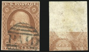 Sale Number 1024, Lot Number 36, 3c 1851-56 Issue (Scott 10-11A)3c Orange Brown, Printed on Both Sides (10Ab; formerly 10a), 3c Orange Brown, Printed on Both Sides (10Ab; formerly 10a)