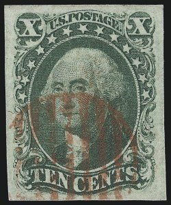 Sale Number 1024, Lot Number 47, 5c 1856 Issue, 10c 1855 Issue (Scott 12-16)10c Green, Ty. IV (16), 10c Green, Ty. IV (16)