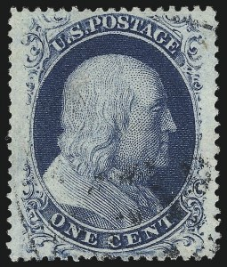 Sale Number 1024, Lot Number 58, 1c 1857-60 Issue (Scott 18-24)1c Blue, Ty. IIIa (22), 1c Blue, Ty. IIIa (22)