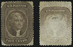 Sale Number 1024, Lot Number 75, 5c 1857-60 Issue (Scott 27-30A)5c Brown, Ty. II, Printed on Both Sides (30Ab), 5c Brown, Ty. II, Printed on Both Sides (30Ab)