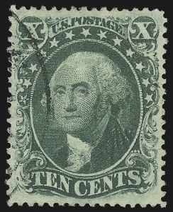 Sale Number 1024, Lot Number 78, 10c 1857-60 Issue (Scott 31-35)10c Green, Ty. III (33), 10c Green, Ty. III (33)