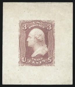 Sale Number 1025, Lot Number 103, 1861-66 Issue3c Pink, Large Die Proof on India (64P1), 3c Pink, Large Die Proof on India (64P1)