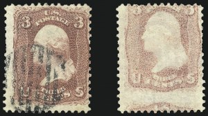 Sale Number 1025, Lot Number 108, 1861-66 Issue3c Rose, Printed on Both Sides (65e), 3c Rose, Printed on Both Sides (65e)