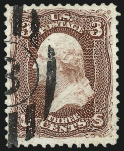 Sale Number 1025, Lot Number 124, 1861-66 Issue cont. thru Re-Issue3c Brown Red, Re-Issue (104), 3c Brown Red, Re-Issue (104)