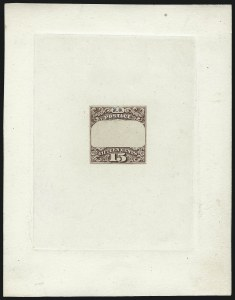 Sale Number 1025, Lot Number 129, 1869 Pictorial Issue: Essays, Proofs and Specimens15c Black, Ty. II, Frame Only Essay on India (119-E1a), 15c Black, Ty. II, Frame Only Essay on India (119-E1a)